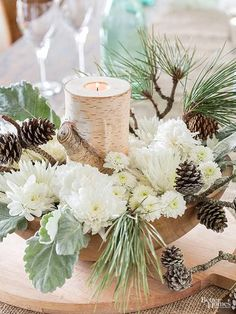 Fashion these woodsy, late-winter floral displays with pinecones from your own backyard for truly seasonal, and locally sourced, arrangements. Winter Floral Arrangements, Christmas Arrangements, Christmas Decorations, Western Decorations, Vase Arrangements, Wedding Arrangements, Christmas Candles, Holiday Decor, Winter Centerpieces