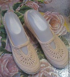 Купить Туфли хлопковые - бежевый, обувь ручной работы, летняя обувь крючком, туфли вязаные