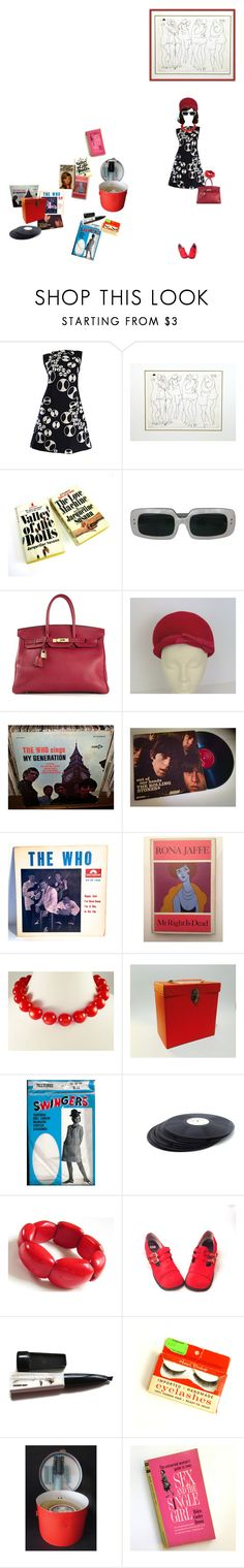 """It Started With the Dress"" by kellymailinglist ❤ liked on Polyvore featuring Valley of the Dolls, Hermès, Schick and vintage"