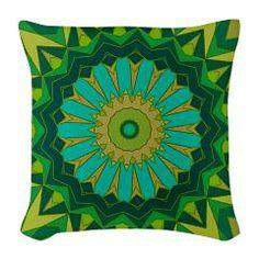 St. Patricks Day Kaleidoscope Burlap Throw Pillow> Groovy Green Abstract> Nature Tees
