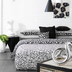 Carre Black Taupe and White Graphic Print Quilt Cover in Queen