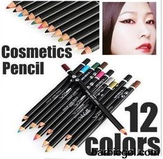 12pcs/set 12 color cosmetics makeup makeup pen eyebrow eye liner lip waterproof eyeliner pencil