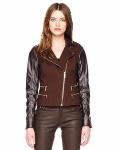 MICHAEL Michael Kors  Leather-Sleeve Zipper Jacket.
