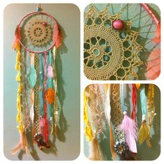 I like the idea of using doilies (so many from my Mom and Grandma) in a dreamcatcher, with seashells, feathers and seaglass.