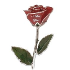 """An 11"""" 24k gold trimmed rose, or select from a platinum trimmed rose, or a silver trimmed rose. """"I Love You"""" is imprinted on the real rose petal for a custom touch. Add a vase for a beautiful presentation. She (or he) will love the perfect gift of an everlasting rose for an anniversary, birthday, Valentine's Day, Christmas, or any occasion. [ LoveIsARose.com ] #valentinesday #mothersday #birthday #christmas #mom #mother #grandmother #aunt #girlfriend #loveofyourlife"""