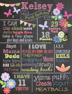 Custom First Birthday Colored Chalkboard Poster/ Invitation - Flowers - Butterflies - Summer - Picnic - Pink and Green - Shabby Chic- Garden