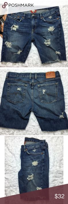 """Lucky Brand distressed cutoff denim shorts Size 14 It's cutoff season!!!  Show off your gams in style with these Lucky Brand distressed cutoff denim shorts Size 14/32 Waist 17.5"""" across, rise 10"""", inseam 8"""" Regular stitched pocket, 99% cotton, 1% Lycra  ‼️PRICE FIRM UNLESS BUNDLED‼️ Create a bundle for 15% off! Thanks for looking✌️❌NO TRADES❌ Lucky Brand Shorts Jean Shorts"""
