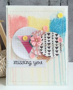 ~ missing you ~ - Scrapbook.com - Use Gelatos to create pretty soft, watercolor background for cards.