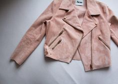 what-do-i-wear:    Soft, suede leather jacket by Acne, in peachy-pink with rosegold details. (image: vanillascented)