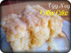 Egg Nog Coffee Cake-was ok. Cake was great but the drizzle had too strong of an egg nog flavor.use with homemade egg nog instead. Just Desserts, Delicious Desserts, Dessert Recipes, Yummy Food, Eggnog Coffee, Coffee Cake, Coffee Menu, Coffee Break, Coffee Drinks