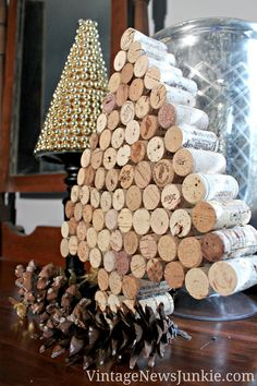 Wine Cork Christmas Tree -DIY - might paint it and add some lights too