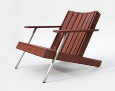 Wood Furniture  Decor :: Modern Deck Chair, Stainless Steel Accents, Outdoor Oil Finish  Modern Adirondack Chair in Rosewood  'Deckster' by StudioLiscious