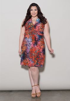 Marla Tank Dress - Red Multi Print Trendy Curvy | Plus Size Fashion | Fashionista | Shop online at www.curvaliciousclothes.com TAKE 15% OFF Use code: SVE15 at checkout