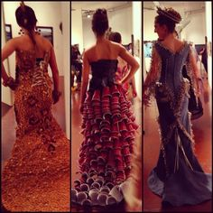 """""""Gowns made from red plastic cups, wine corks, & safety pins. A fashion show to remember! Strapless Dress Formal, Formal Dresses, Art Party, Embedded Image Permalink, Fashion Show, Gowns, Dresses For Formal, Vestidos, Dresses"""