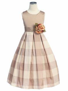 Mocha Flower Girl Dress - Checker Print Taffeta Dress