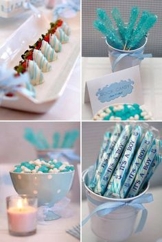 White Chocolate Covered Strawberries with Blue splash! I love that idea. Also, could do white chocolate dipped pretzels!
