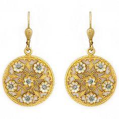 La Vie Parisienne Earrings. Delicate round gold filigree earrings with an ivory enamel floral design is a fabulous bohemian style bridal earring.