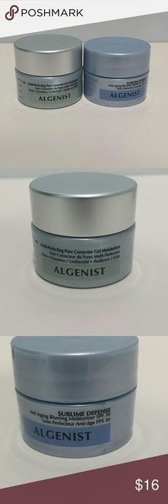 Algenist Moisturizer Duo - Multi Perfecting Pore Corrector Gel Moisturizer .23 oz $8 - Sublime Defense Anti Aging Blurring Moisturizer SPF 30 .23 oz $9  Both are new and never opened.  No trades.    Please submit any offers though the offer option.   Items are not full sized. Sephora Makeup