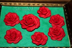 4 pcs Red Rose Chabochon, Two sizes Handmade Polymer clay Flower for you necklace, Jewelry Supplyes. Unlimited quantities di FlowerClaySupplies su Etsy