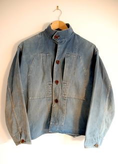 "The Vintage Catalogue: 1930 French Navy chore cotton denim jacket ""Tom's Favorite""! Americana Vintage, Vintage Denim, Vintage Jacket, Jeans Denim, Raw Denim, Denim Shirts, Denim Fashion, Look Fashion, Fashion 2016"