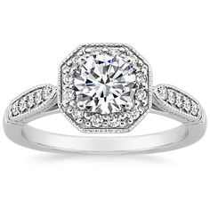 $14,250.00 (w/2.00 carat center diamond included in price)    18K White Gold Victorian Halo Diamond Ring from Brilliant Earth
