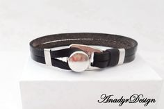 FREE SHIPPING,Black Leather Bracelet, Mens Jewelry, Men's Classic Jewelry, Stylish bracelet, Gift for Him