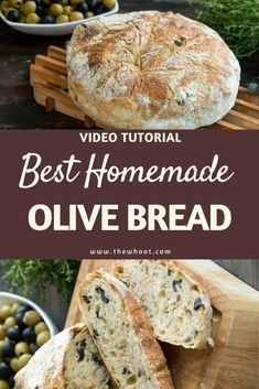 How To Make Olive Bread Recipe Easy Video Tutorial Italian Bread Recipes, Artisan Bread Recipes, Bread Maker Recipes, Healthy Bread Recipes, Cooking Recipes, Croatian Recipes, Olive Bread Recipe Video, Wheat Bread Recipe, Recipes