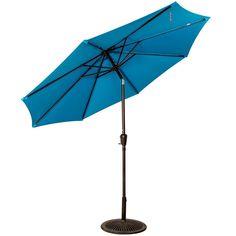 Aluminum Market Umbrella Table Umbrella with Crank and Push Button Tilt for Patio, Garden, Deck, Backyard, Pool, 8 Steel Ribs (Lake Blue) Table Umbrella, Outdoor Umbrella, Aluminum Patio, Market Umbrella, Tilt, Deck, Backyard, Steel, Button