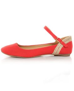 Mixx Amy 61 Red Linen Ankle Strap Ballet Flats.