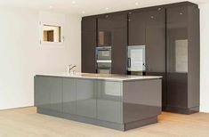 Modern kitchen with two tone high gloss cabinets brown and gray island Modern Kitchen Design, Kitchen Designs, High Gloss Kitchen Cabinets, Gray Island, Painting Cabinets, Cabinet Design, Brown And Grey, Furniture, Home Decor
