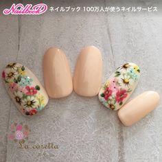 ネイル(No.1678649)|シンプル |フラワー |オフィス |デート |オールシーズン |パーティー |ベージュ |ジェルネイル |ミディアム |ワンカラー |ハンド |チップ | かわいいネイルのデザインを探すならネイルブック!流行のデザインが丸わかり! Cute Nail Art, Beautiful Nail Art, Cute Nails, Pretty Nails, Spring Nail Art, Spring Nails, Sunflower Nail Art, Sculpted Gel Nails, Animal Nail Art