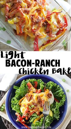 A light version of the Bacon Ranch Chicken Bake pinned over 150,000 times! Delicious one dish dinner recipe! Baked Ranch Chicken, Keto Chicken, One Dish Dinners, Meat Recipes, Chicken Recipes, Banting Recipes, Ketogenic Recipes, Turkey Recipes, Yummy Recipes