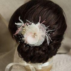 Blush hairpiece Wedding hair piece Bridal hair by LeFlowers