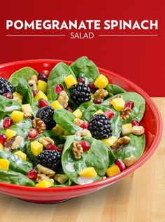 Café Zupas' New Pomegranate Spinach Salad. fresh spinach, juicy mango, ripe blackberries, and antioxidant-rich pomegranate. We've topped it all off with our house-made pomegranate Greek yogurt dressing and crunchy walnuts
