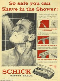 1959 AD Schick Safety Razor Man Shaving in Shower~Original Advertisement