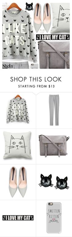 """""""Love! Cat print sweatshirt"""" by pastelneon ❤ liked on Polyvore featuring Uniqlo, Betsey Johnson, Sixtrees, Casetify, Des Petits Hauts, women's clothing, women's fashion, women, female and woman"""