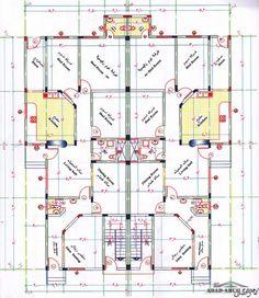 دور ارضي شقتين 150 متر لكل شقه تقريبا 10 Marla House Plan, Simple House Plans, New House Plans, Modern Landscape Design, Modern Landscaping, House Layout Plans, House Layouts, 30x50 House Plans, Apartment Plans