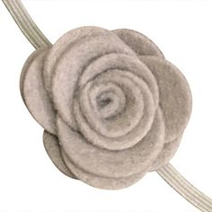 FUN 3-D Felt Rose Skinny Elastic Headband. Perfect for newborn and baby, but can be sized for older girls. Grey