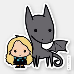 Cartoon Thestral and Luna Character Art Sticker , Check out this cute Harry Potter cartoon character art for Luna Lovegood with a Thestral. Stickers Harry Potter, Harry Potter Cartoon, Cute Harry Potter, Harry Potter Drawings, Harry Potter Characters, Luna Lovegood, Imprimibles Harry Potter Gratis, Character Art, Character Design