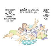 Art Impressions Girlfriends Cling Rubber Stamp Stayin' Afloat Set