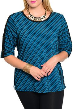 DHStyles Women's Teal Black Plus Size Dressy Striped Textured Button Sleeve Top #sexytops #clubclothes #sexydresses #fashionablesexydress #sexyshirts #sexyclothes #cocktaildresses #clubwear #cheapsexydresses #clubdresses #cheaptops #partytops #partydress #haltertops #cocktaildresses #partydresses #minidress #nightclubclothes #hotfashion #juniorsclothing #cocktaildress #glamclothing #sexytop #womensclothes #clubbingclothes #juniorsclothes #juniorclothes #trendyclothing #minidresses…