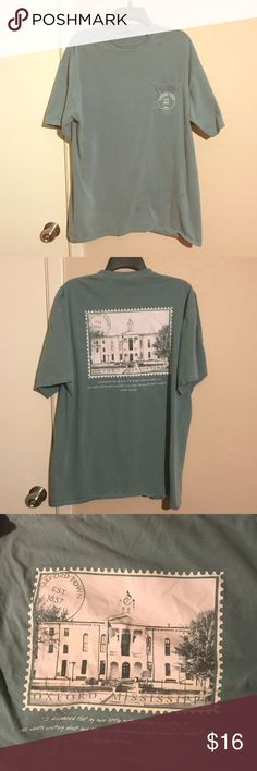 Blue green Oxford MS TSHIRT Washed out and vintage tee. Used to be XL but I shrunk it into a Large. Good for wearing casually with shorts or jeans vintage Tops Tees - Short Sleeve