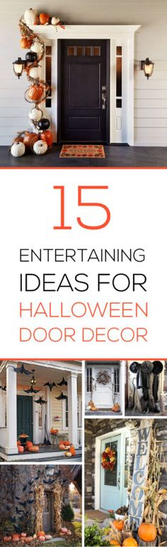 The kids are back to school, the leaves turn beautiful colors and fall, and before you know it, ghosts and goblins knock at your door for treats and parties. Welcome your Halloween guests with these creative door and porch decor ideas. Halloween Boo, Halloween House, Holidays Halloween, Halloween Crafts, Happy Halloween, Vintage Halloween, Halloween Door Decorations, Holiday Decorations, Holiday Fun