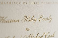 Golden ink thermographed on the wedding card...