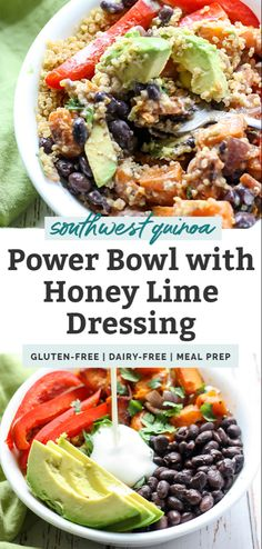Gluten-free, dairy-free Southwest Quinoa Power Bowl with a creamy honey lime dressing These Southwest Quinoa Power Bowls are the perfect healthy lunch or dinner. They're packed with fiber, protein, and vegetables for healthy and. Tasty Vegetarian, Clean Eating Vegetarian, Clean Eating Diet, Clean Eating Recipes, Clean Eating Lunches, Clean Eating Meals, Clean Eating Guide, Clean Dinners, Power Bowl
