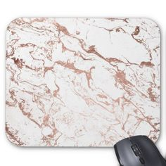 Modern chic faux rose gold white marble mouse pad