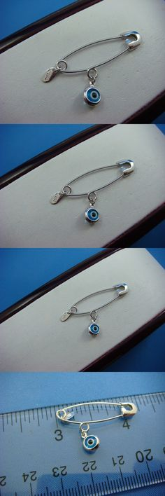 Other Fine Pins and Brooches 11007: 14K Solid White Gold Safety Pin With Evil Eye 1.2 Grams -> BUY IT NOW ONLY: $150 on eBay!