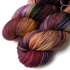 Superwash Merino Cashmere Nylon Yarn - Blueberry Nectarine, 430 yards