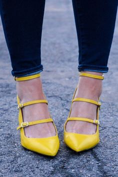 f7f2a519ac Fun, flirty heels? Yes please! Amy from All Dolled Up rocks our colorful  citron strappy pumps with a pair of dark skinny jeans | Banana Republic