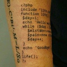 PHP codes tattoo.  #computer #technology #tattoo #codes #programming…
